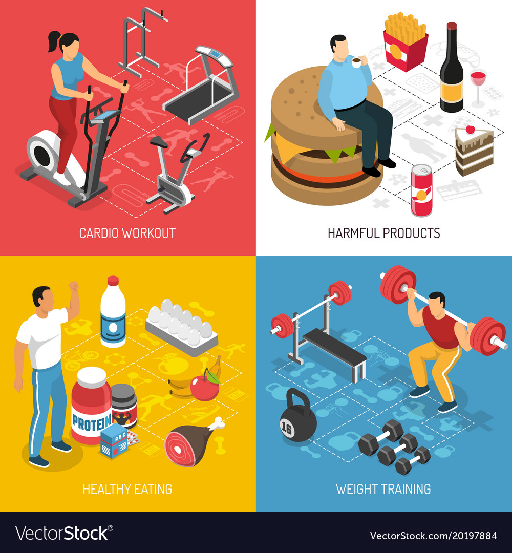 Fitness sport nutrition isometric concept vector image
