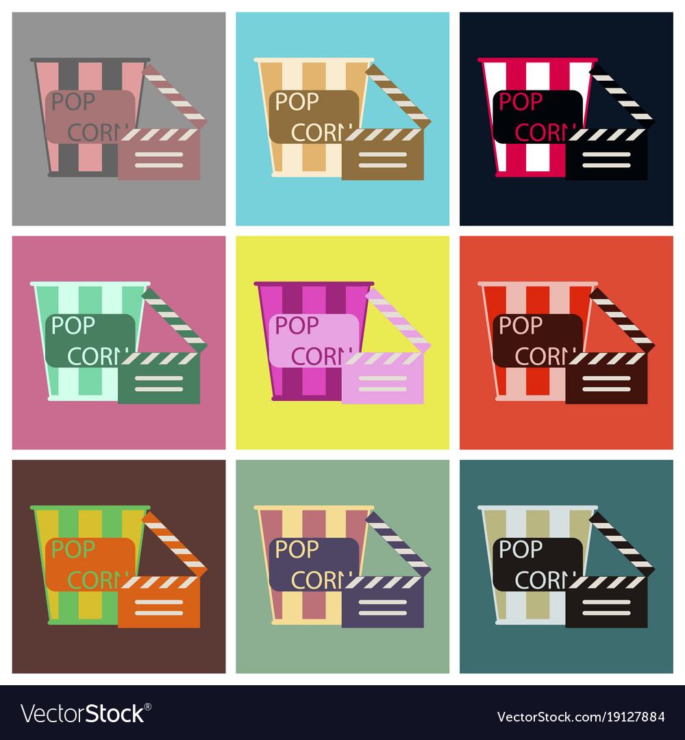 Flat icons set popcorn cinema