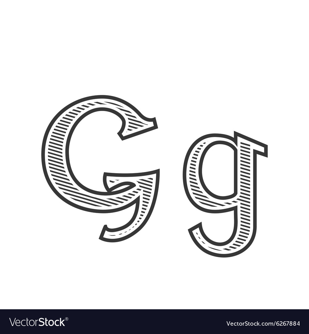 Font Tattoo Engraving Letter G With Shading Vector Image