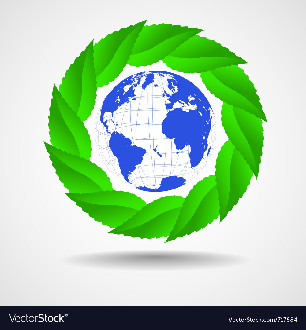 Green eco background globe with leaves vector image