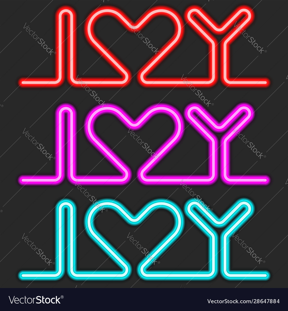 I love you text set neon lettering