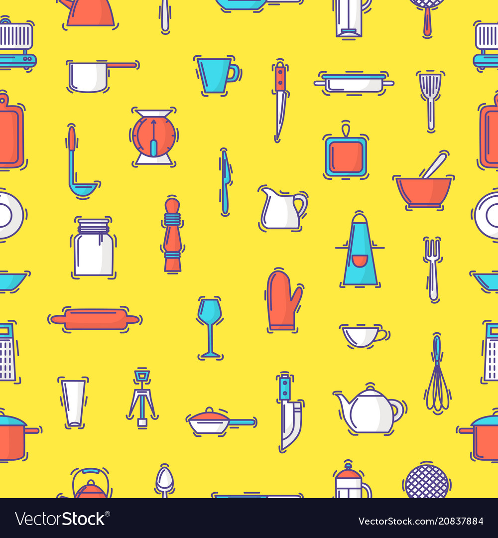 Kitchenware seamless pattern cookware for
