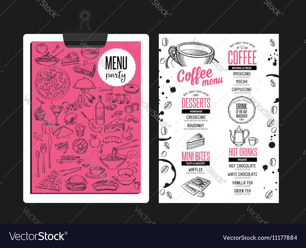Menu coffee restaurant beverage template placemat