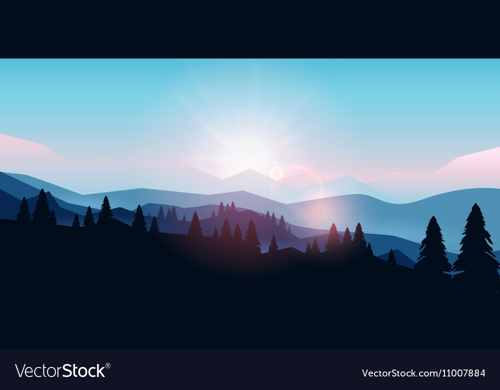 Mountain landscape at sunset and dawn