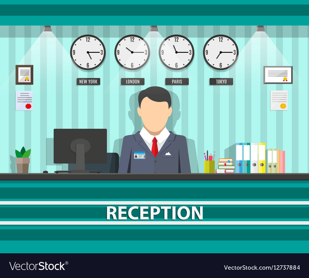 Reception with receptionist interior