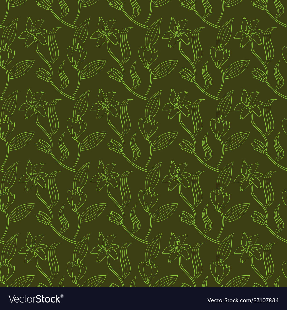 Seamless pattern of lily flowers