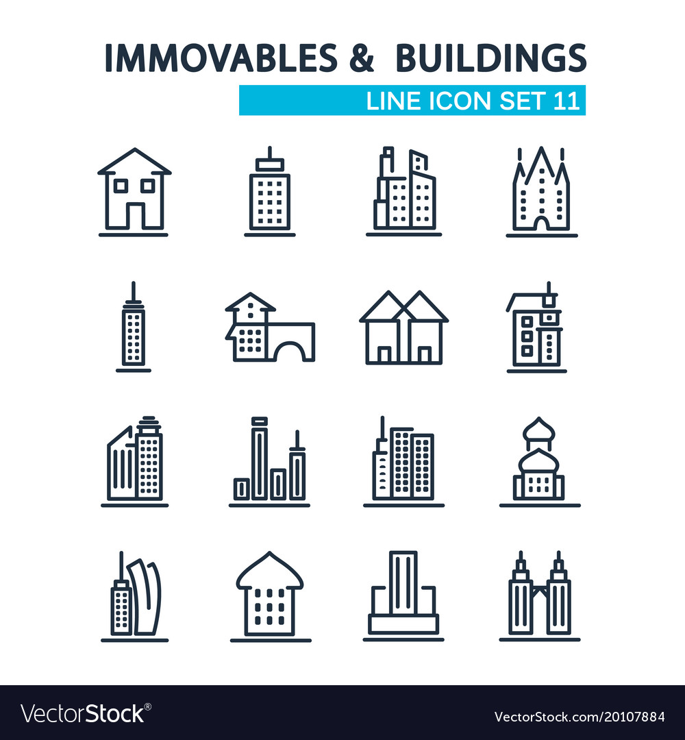 Set of buildings design style decorative icons vector image