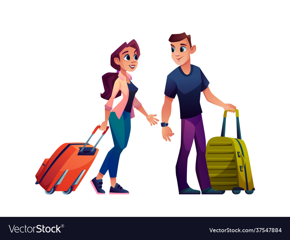 Young couple with luggage bags traveling tourism