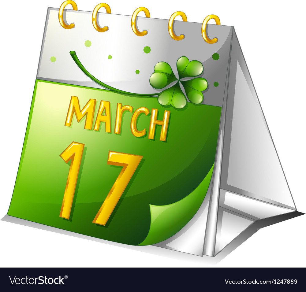 a-calendar-showing-the-17th-of-march-vec