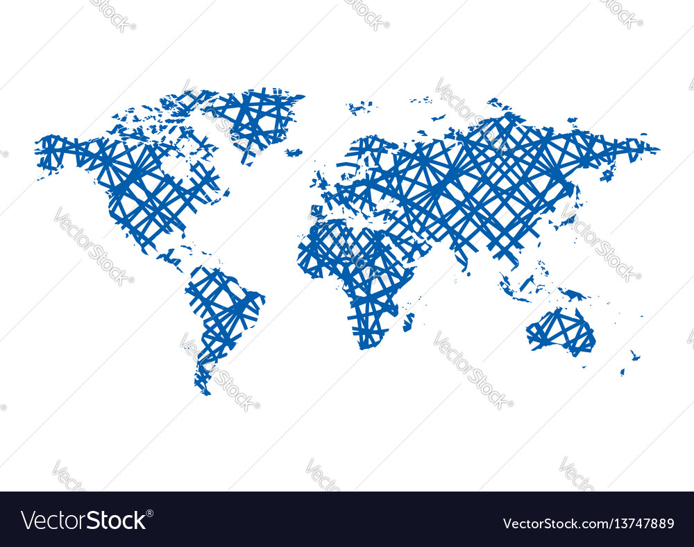 Abstract map of the world   blue lines Royalty Free Vector