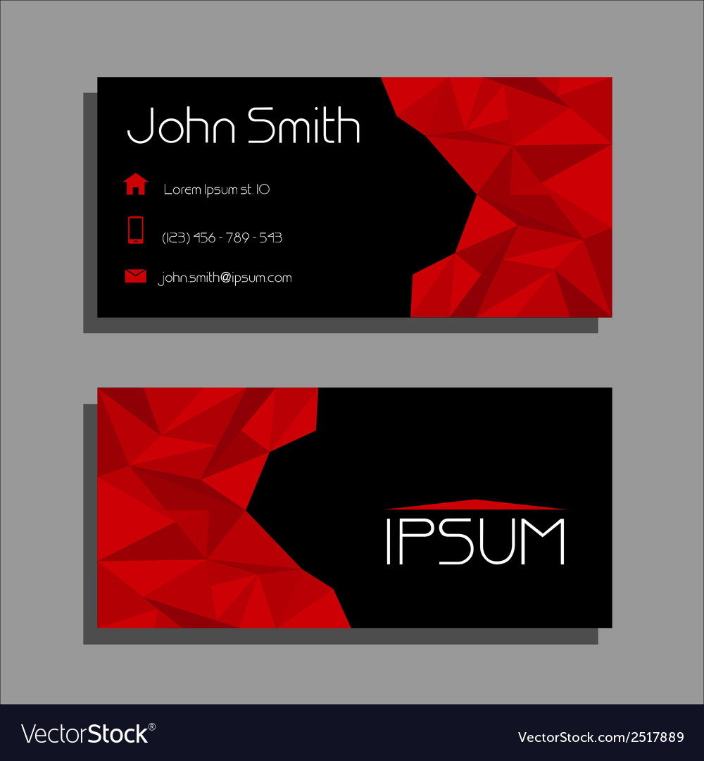 Business Card Polygon Style Red And Black Vector Image