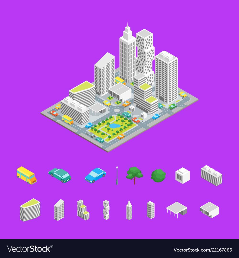 City streets isometric view