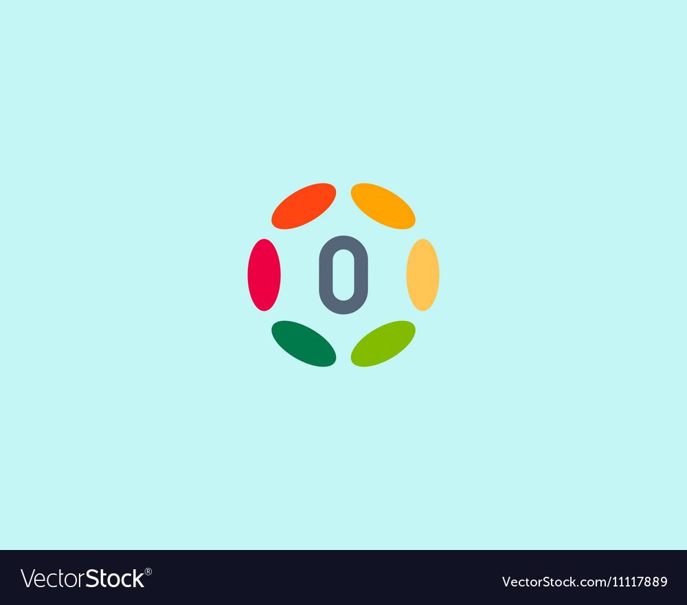 Color number 0 logo icon design Hub frame Vector Image