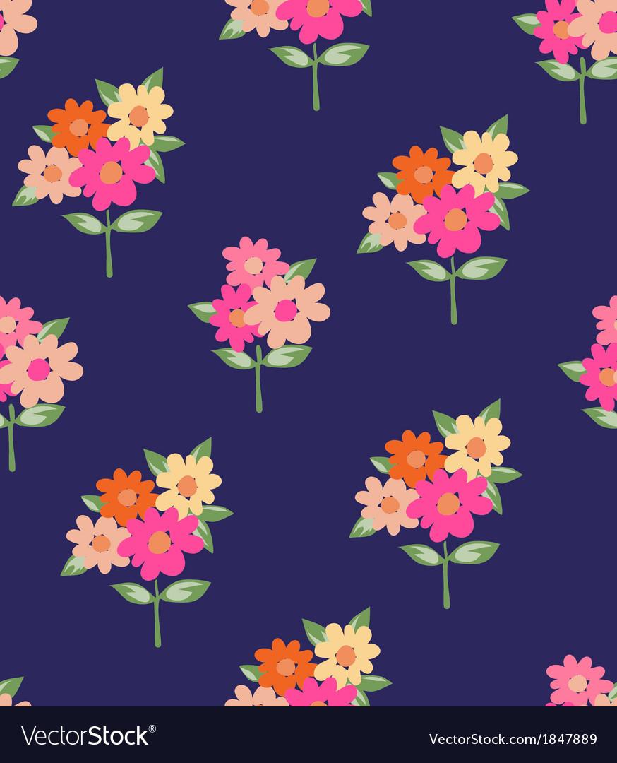Cute Pink Flowers Royalty Free Vector Image Vectorstock