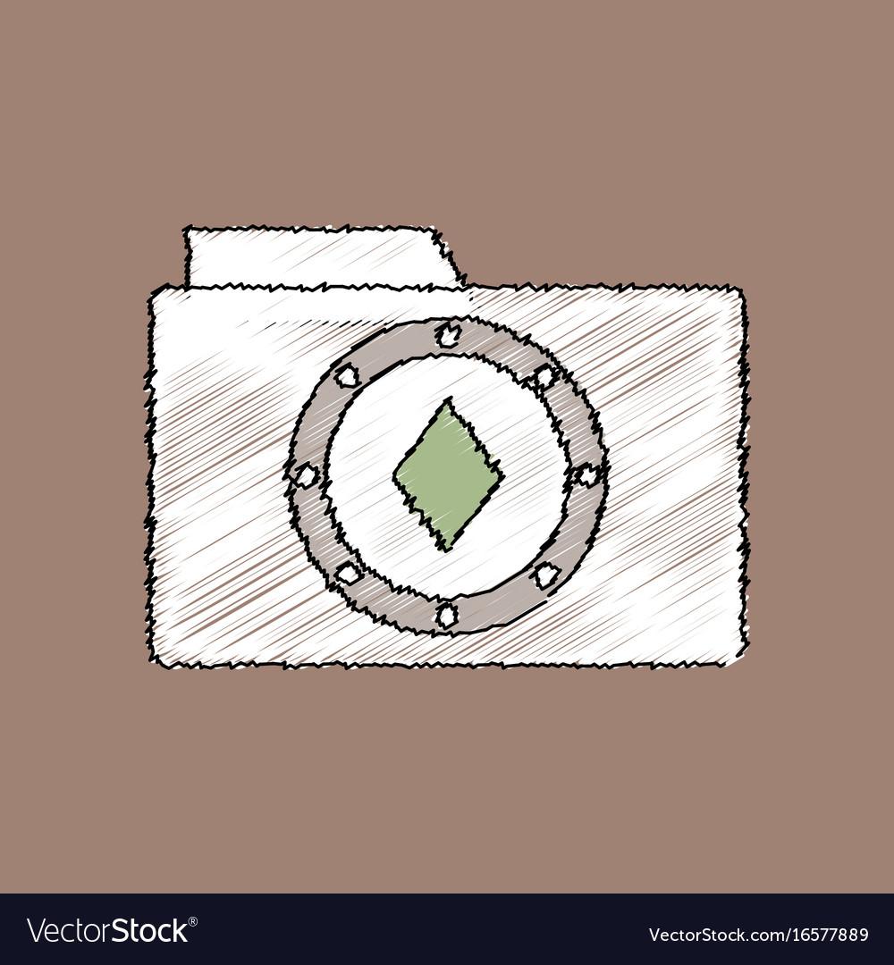 Flat shading style icon casino chip on folder