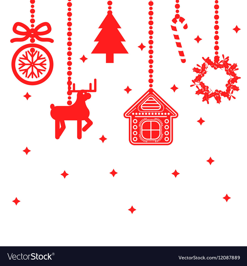 hanging christmas toys decoration vector image - Sign Up For Free Christmas Toys