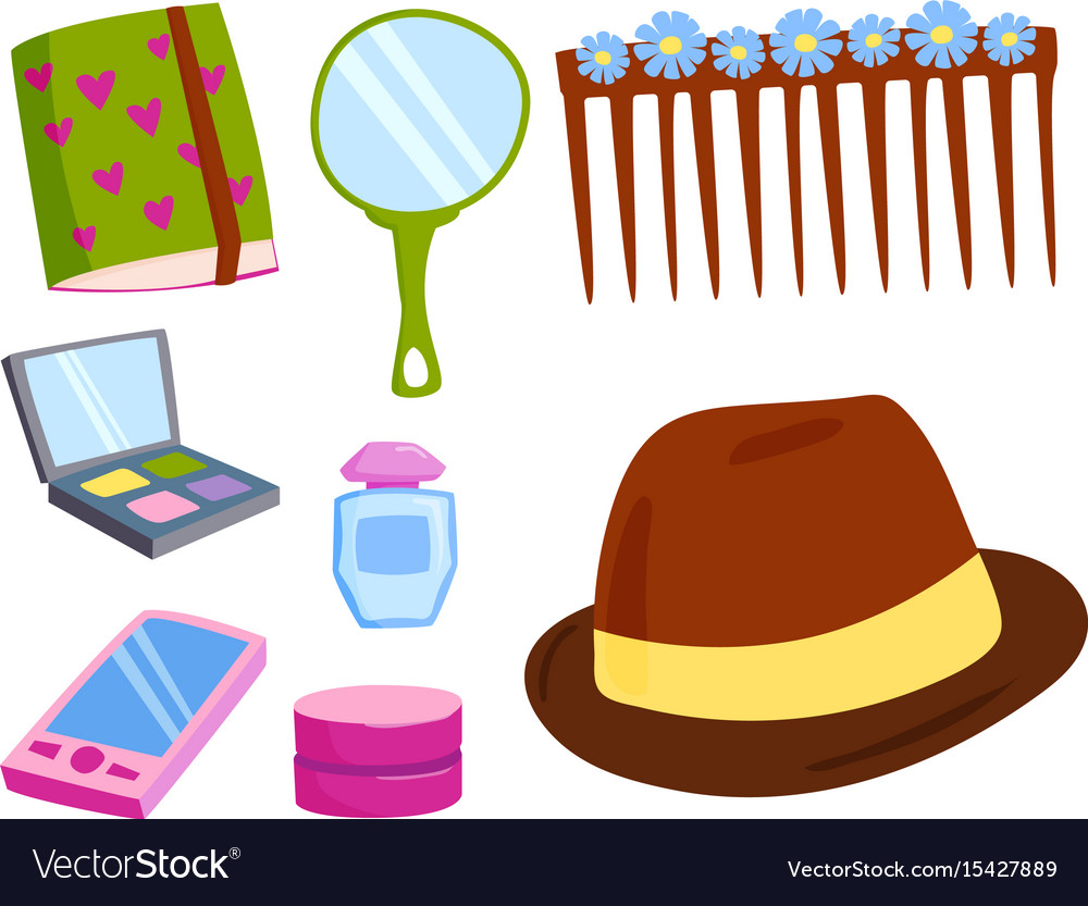 Makeup icons perfume mascara care brushes comb vector image