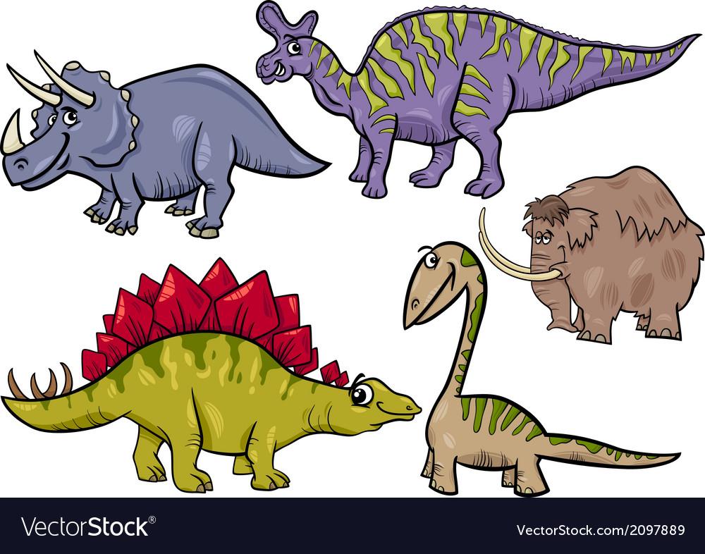 Prehistoric set cartoon
