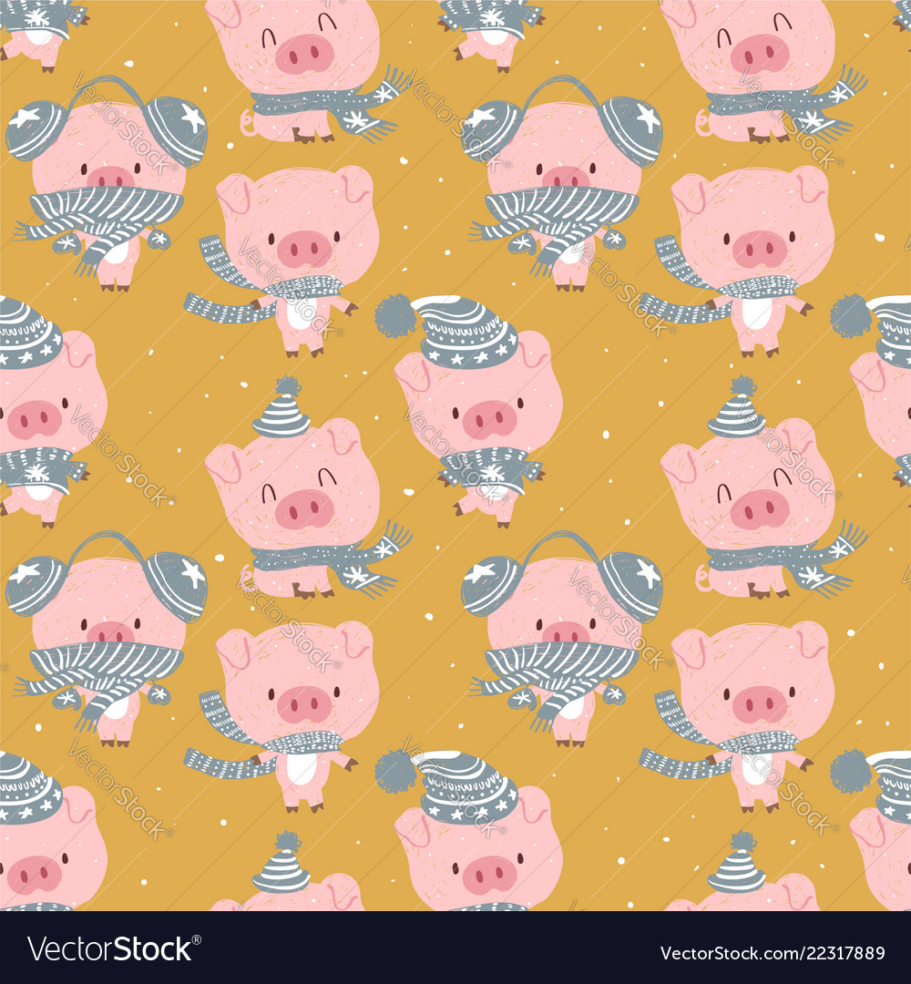 Seamless cute celebrated baby pig blue pastel cart