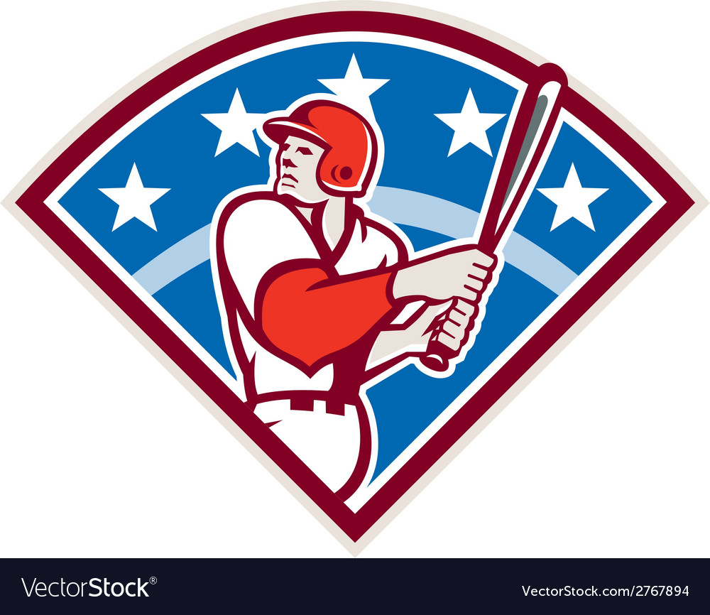 American Baseball Batter Hitter Bat Diamond Retro