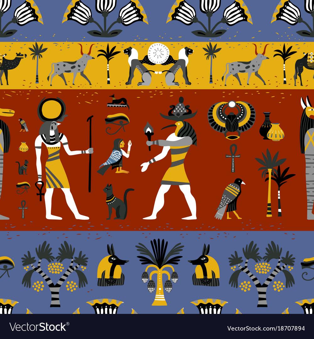 Ancient egyptian religion seamless pattern