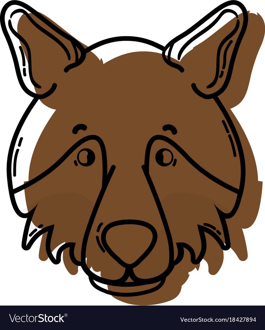 Color Cute Wolf Head Wild Animal Royalty Free Vector Image