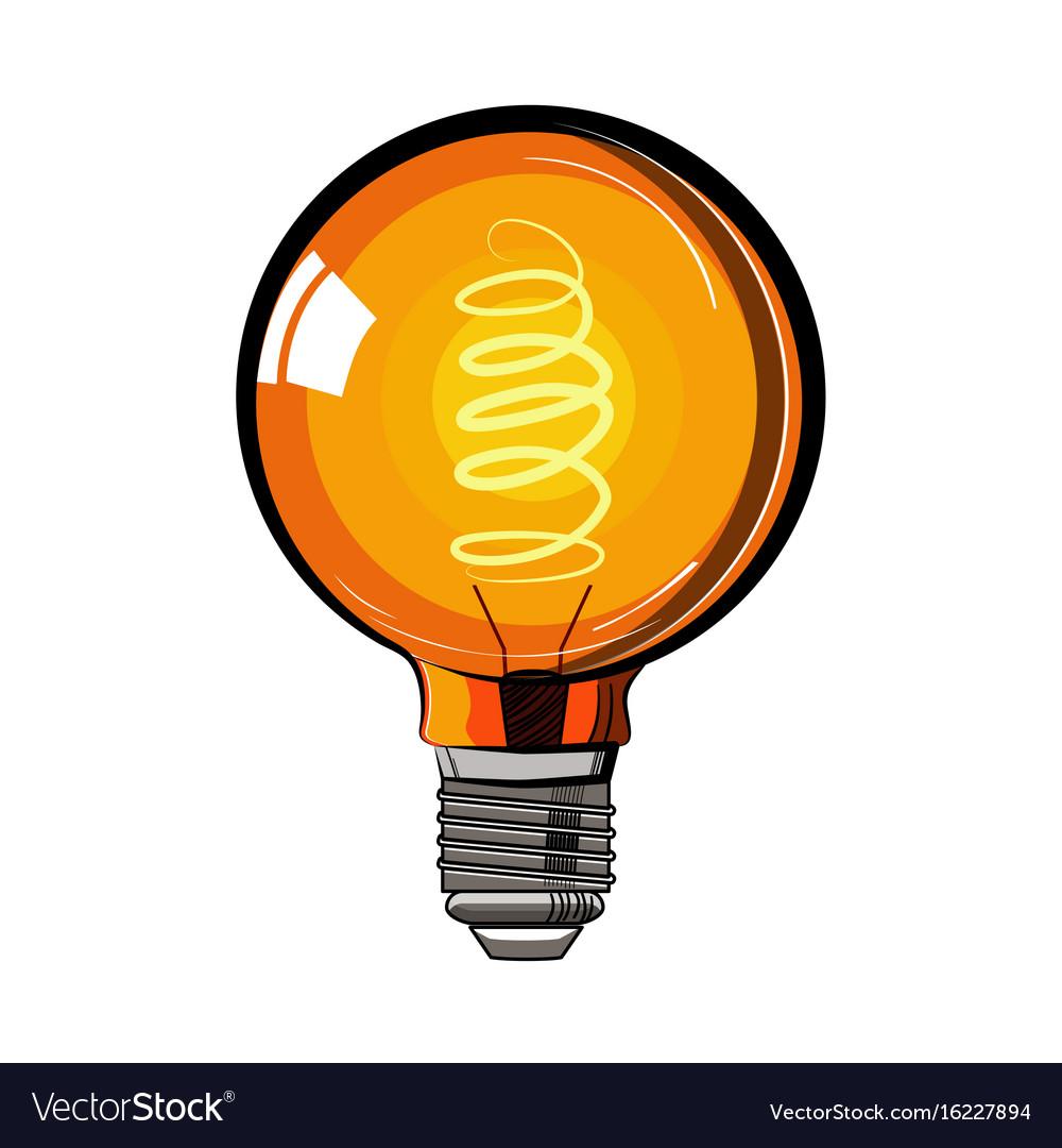 Colored incandescent light bulb sketch