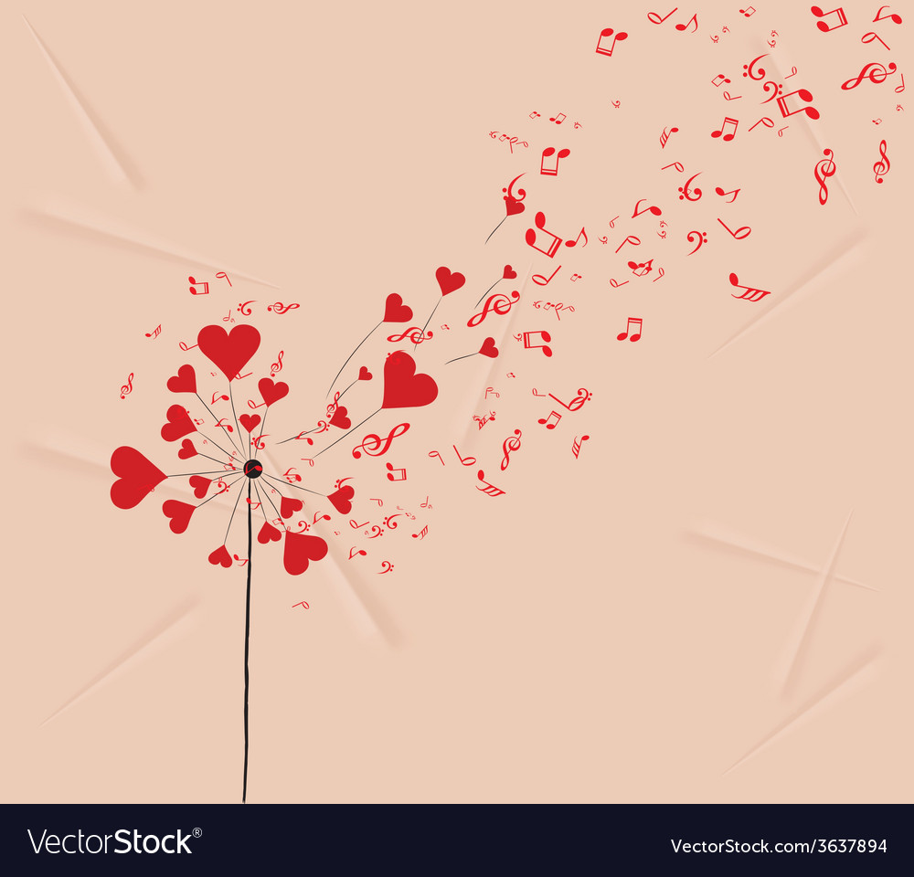 Dandelions hearts and music valentines romantic