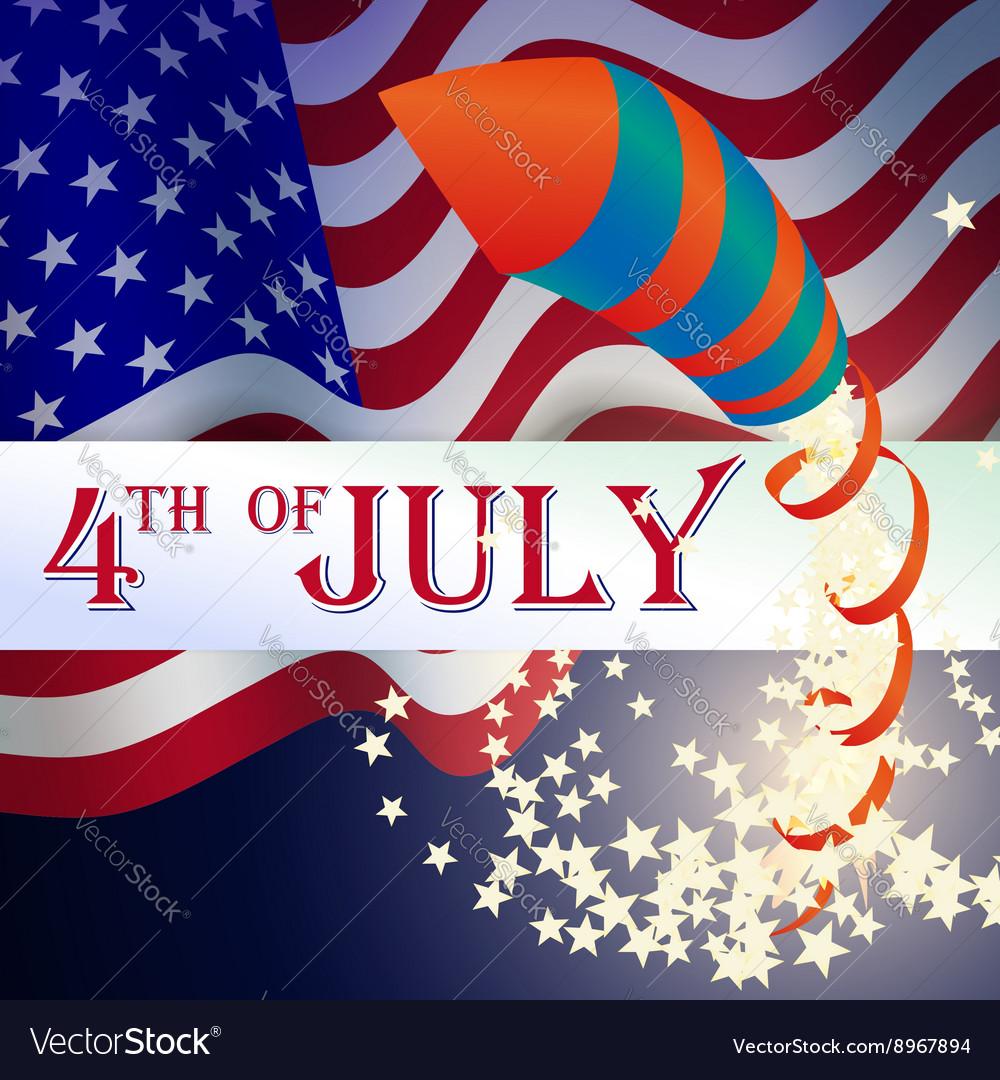 Firecrackers Rockets on American Flag American