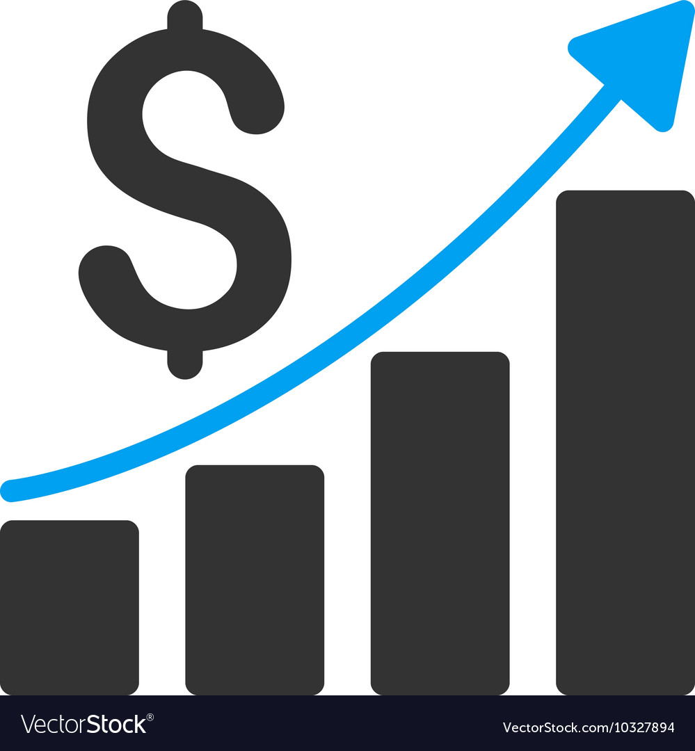 sales growth chart flat icon royalty free vector image