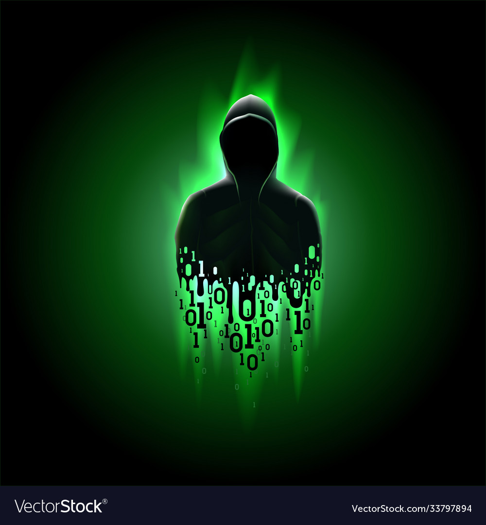 Silhouette a hacker in a hood with binary code