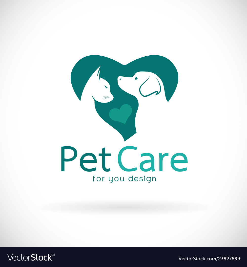 A dog and cat in heart shape on white background
