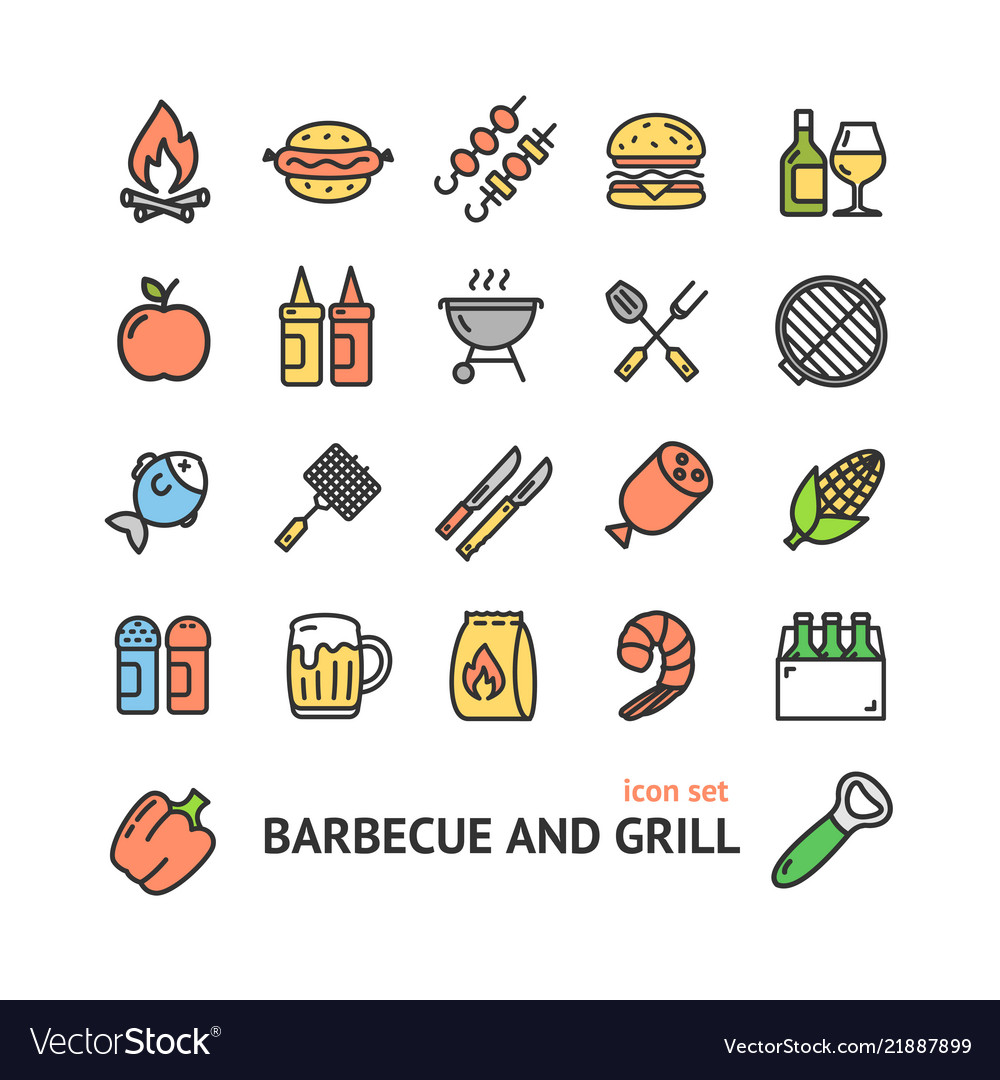 Bbq signs color thin line icon set