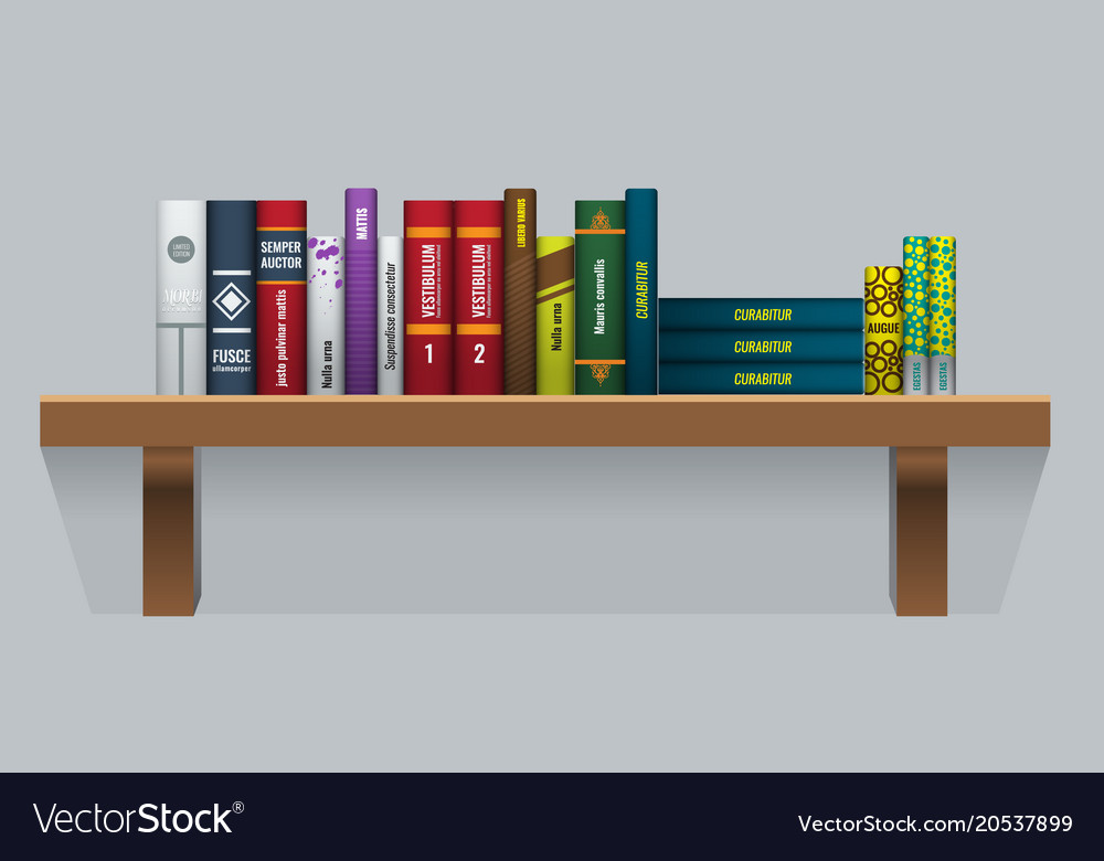 Book Shelf With Realistic Books Stalks Royalty Free Vector