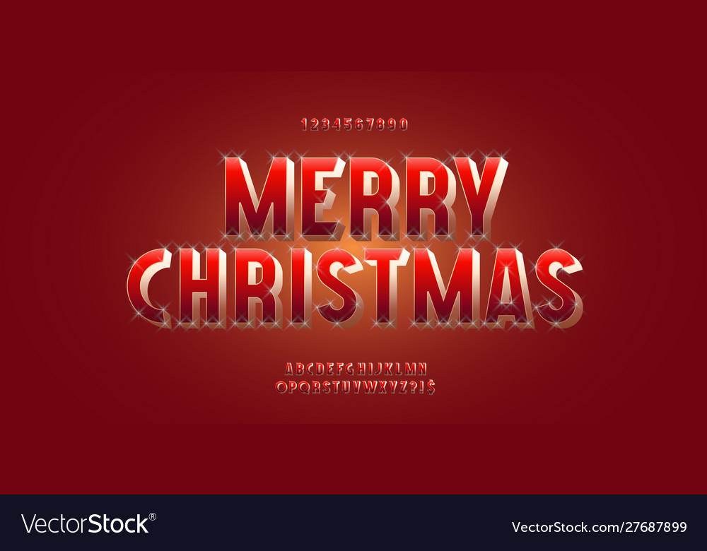 Christmas font 3d red golden style