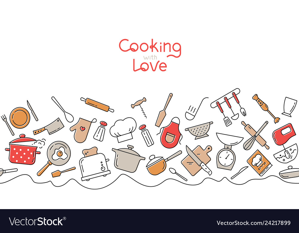 Cooking flat horizontal seamless pattern kitchen