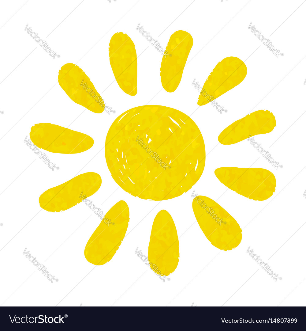 Hand drawn watercolor sun icon design for holiday vector image