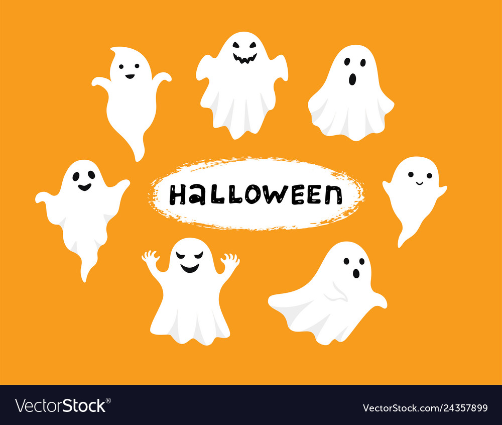 Happy halloween ghost scary white ghosts cute