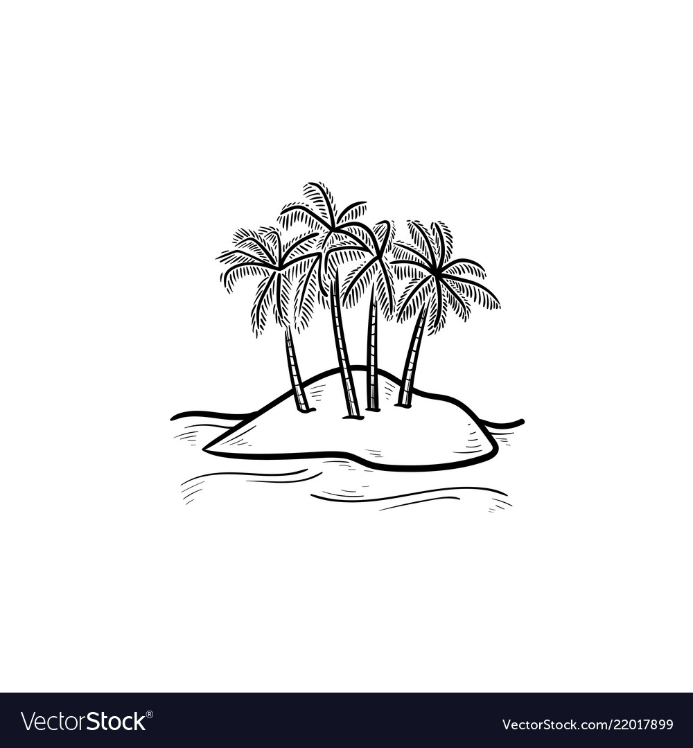 Island with palm trees hand drawn outline doodle