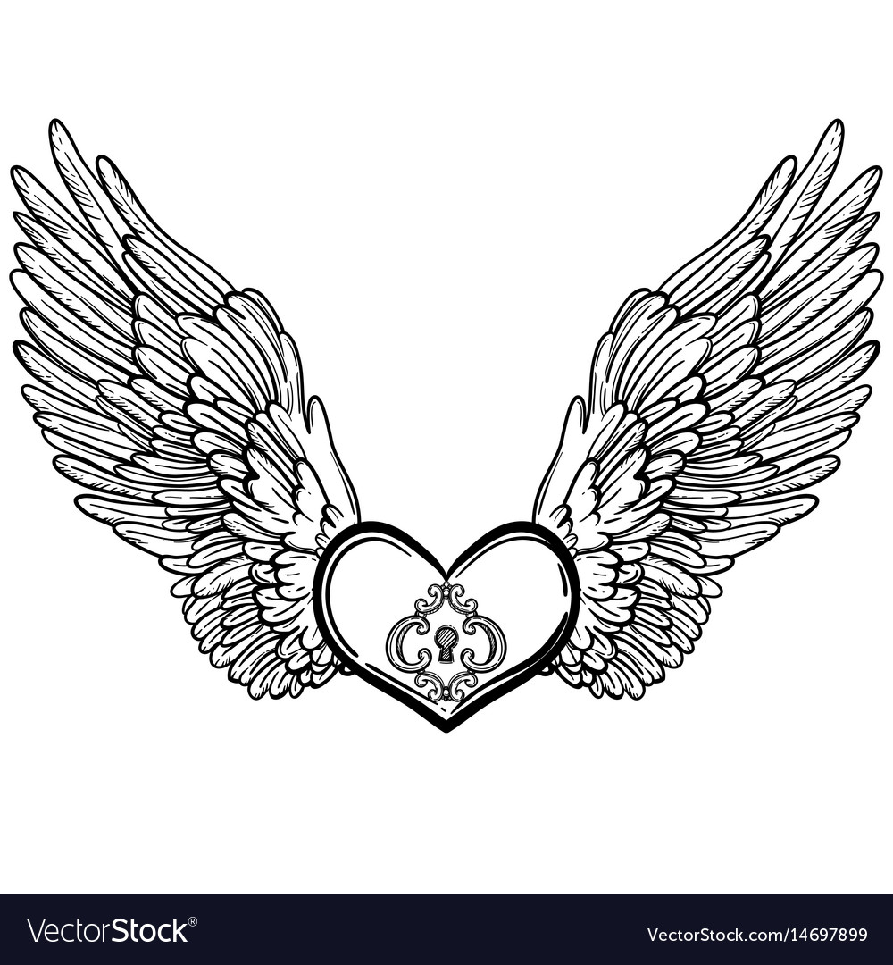 line art of angel wings and heart royalty free vector image rh vectorstock com angel wings with heart wall decor angel wings with heart tattoo designs