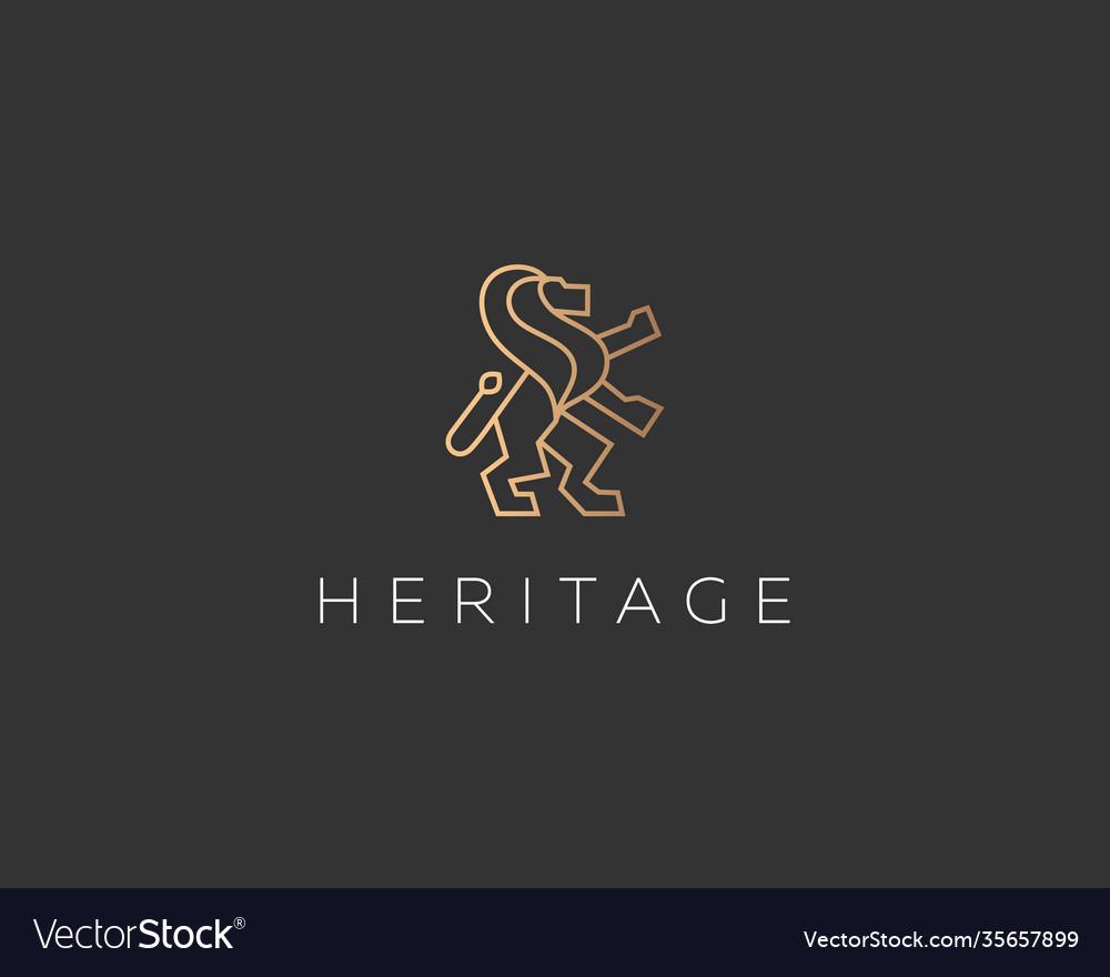 Lion on hind legs simple and elegant logo design
