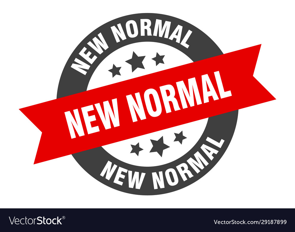 New Normal Sign New Normal Round Ribbon Sticker Vector Image