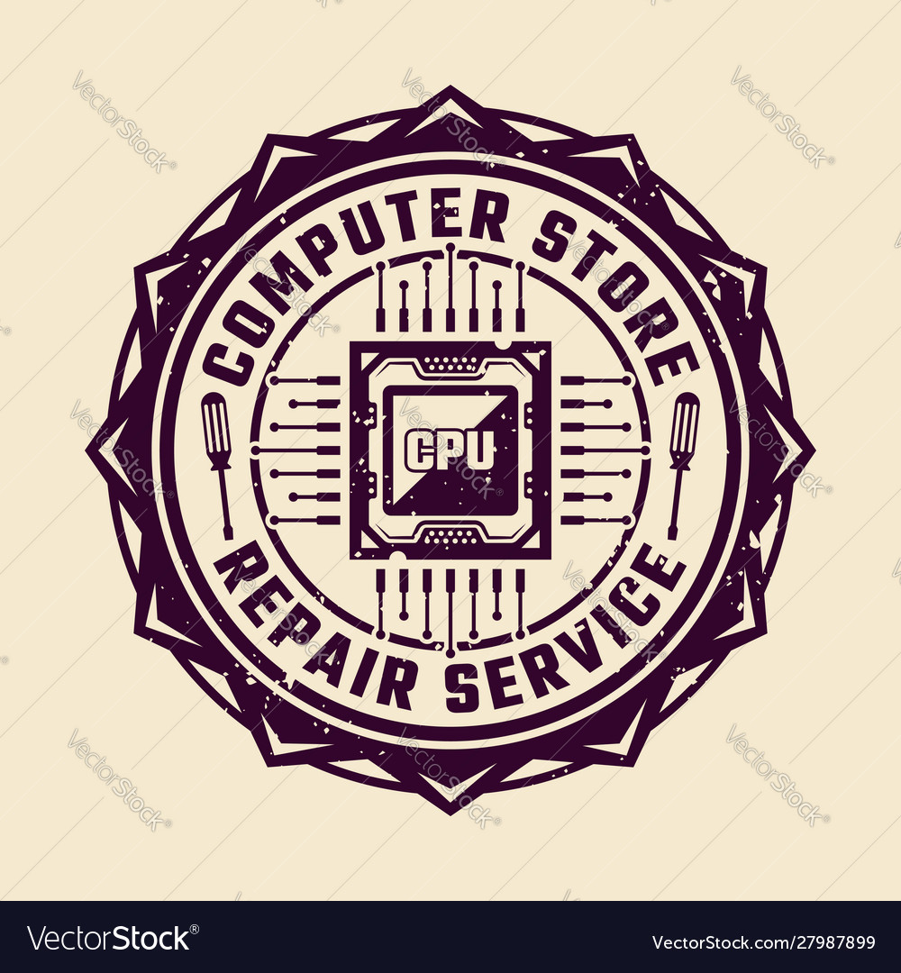 pc repair service round emblem with cpu royalty free vector vectorstock