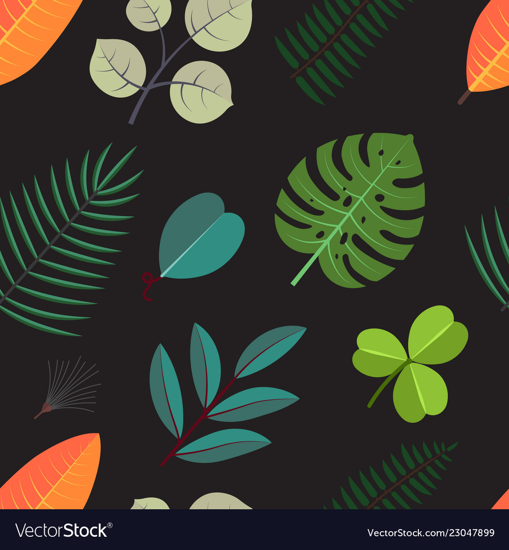 Seamless pattern with green palm leaves floral