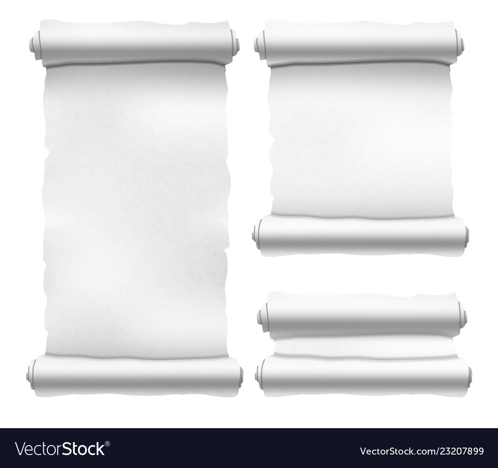 Set of old white textured scrolls different shapes