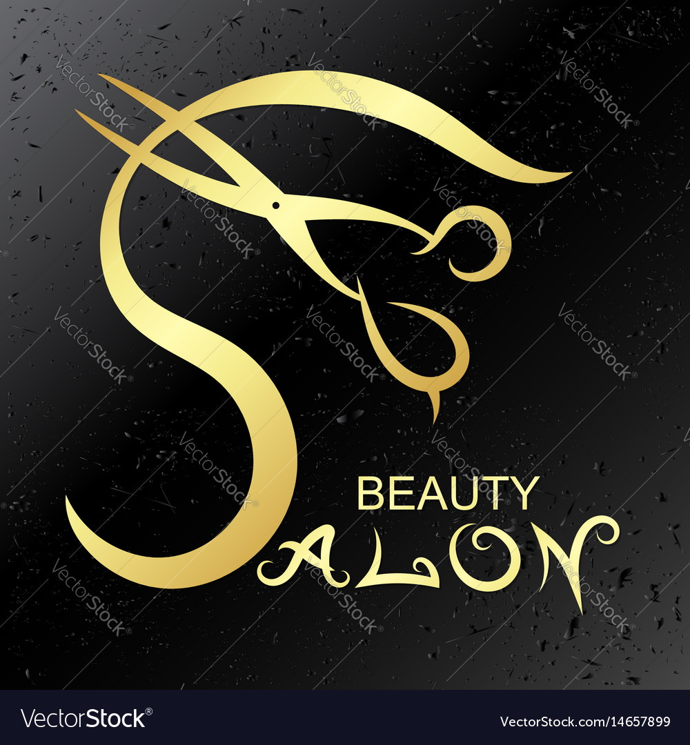 Symbol For Beauty Salon Gold Royalty Free Vector Image