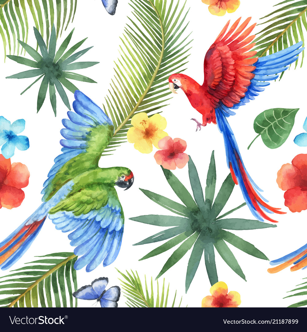 Watercolor seamless pattern with parrots