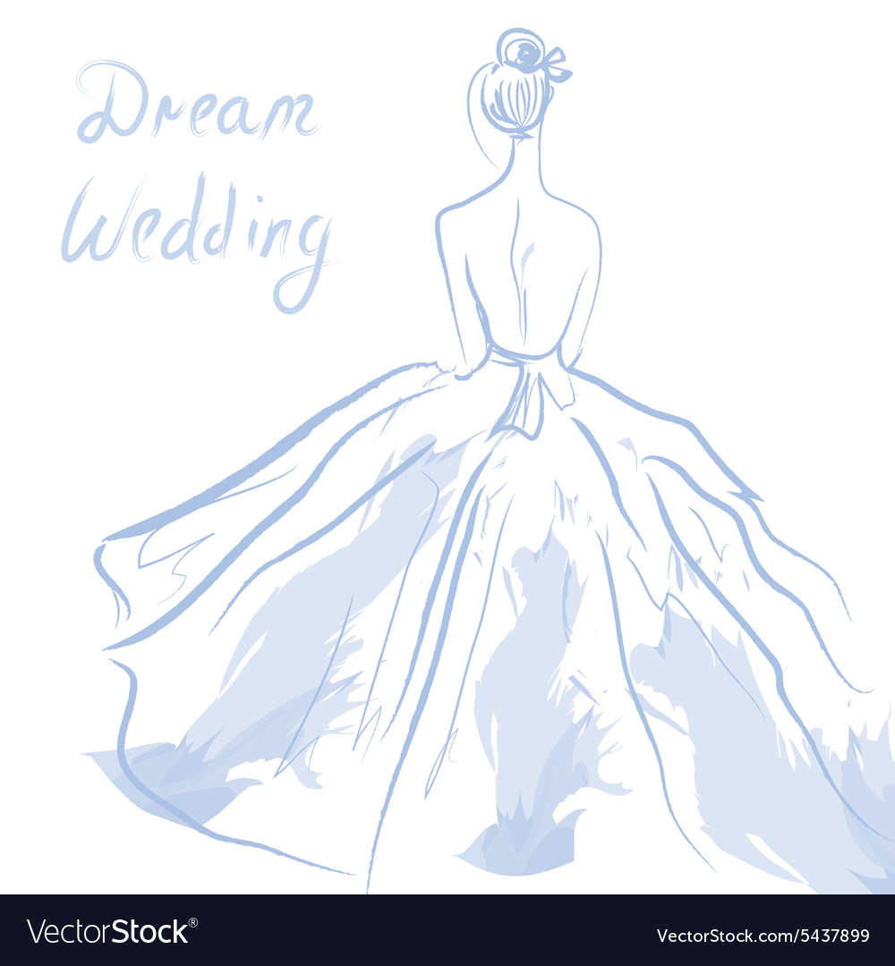 Wedding invitation or card with girl and dress vector image