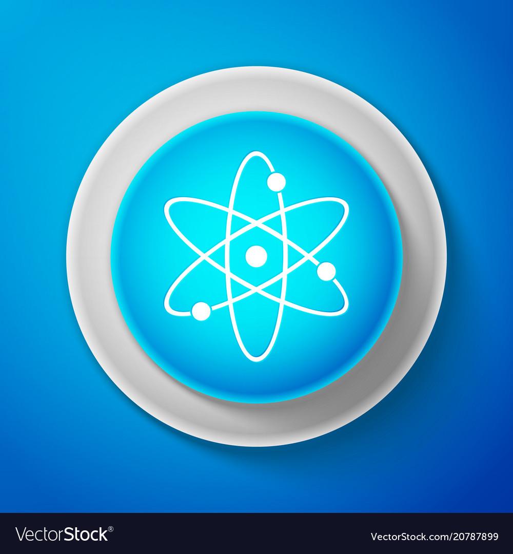 White atom icon isolated on blue background