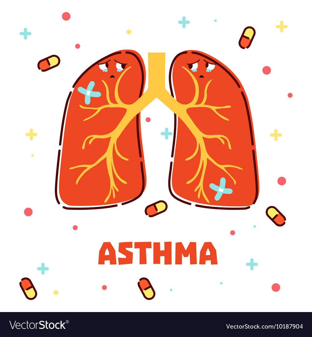 Asthma concept with cartoon lungs